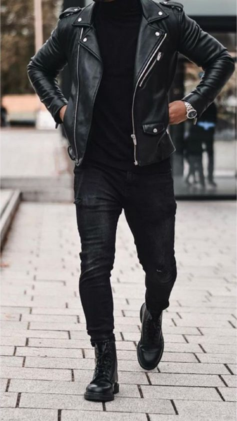 Mr Streetwear Magazine - Men Jackets - Ideas of Men Jackets Source by Albert_Club casual outfits Black Leather Jacket Outfit, Black Outfit Men, All Black Mens Fashion, Fashion Men, Fashion Styles, Biker Jacket Outfit, Leather Outfits, Hip Hop Fashion, Fashion 2020