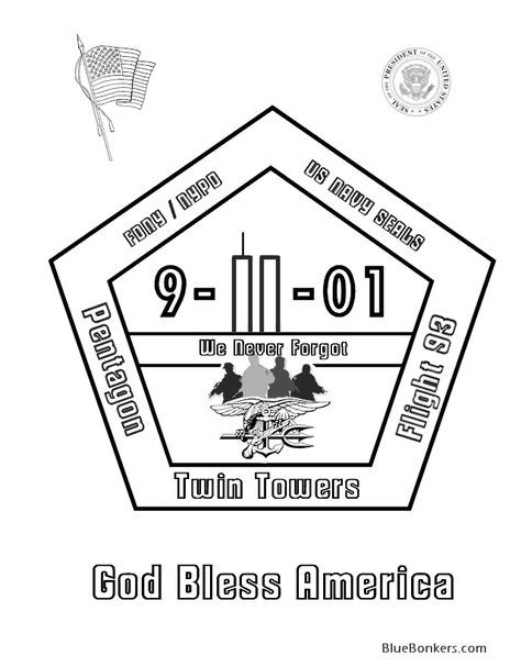 9 11 Coloring Pages 9 11 01 Memorial Rememberance Coloring Page