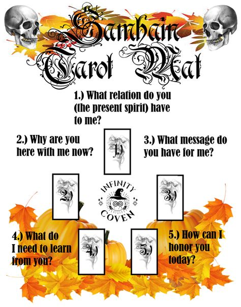The Samhain Sabbat Tarot Mat Digital Download features a Samhain themed Tarot spread page and a Yule Traditions page for just $2.00. The Traditions page makes a great decorative and informative addition to any Altar or Sacred Space. The Sabbat Tarot Mat will enhance your holiday with a reading that embodies the turning Wheel of the Year. Blessed Be! #JoinInfinityCoven #InfinityCoven #TarotMat #TarotSpread #Tarot #TarotPractice #TarotLayout #Sabbat #SabbatTarotSpread #Samhain #SamhainTarot