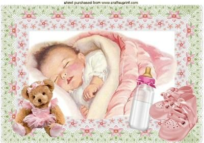 SWEET DREAMS BABY GIRL IN FLORAL FRAME A4 on Craftsuprint - Add To Basket!
