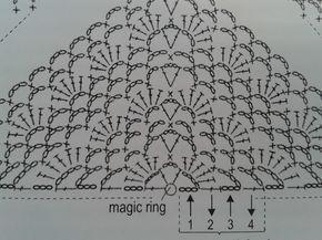 """schéma ou diagramme pour crochet modèle  """"châle ou chèche"""""""