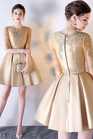 ee072f0b269 A-Line Solid Color Half Sleeve Homecoming Dress Short Prom Dress ...