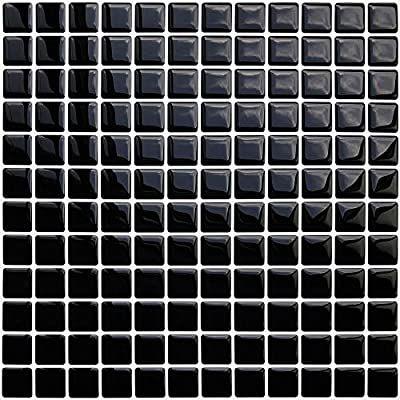 Apsoonsell Mosaic Peel And Stick Wallpaper 3d Adhesive Decorative Tile Sticker Black Amazon Com Peel And Stick Wallpaper Square Tile Block Stickers