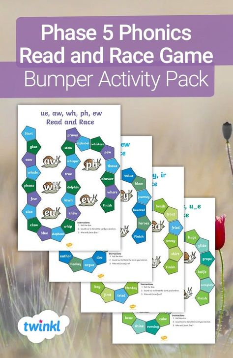 Use this phonics read and race game to encourage your child to practice their sounding and blending skills - perfect for the end of Phase 5. All you need is a dice and some counters to play this racing game with your children at home. Click to download from the Twinkl website!   #phonics #phonicsteaching #sounds #speech #teaching #teacher #parents #homelearning #homeeducation #homeschool #homeed #parents #twinkl #twinklresources #phonicsgames #phonicsactivities