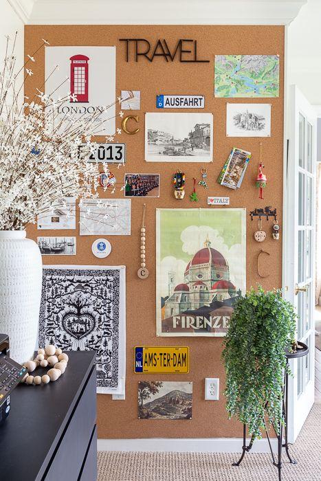 Corkboard Wall Just A Girl Blog In 2020 Cork Board Wall Cork Board Ideas For Bedroom Cork Board