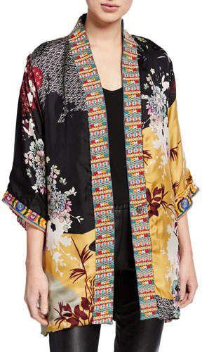 Johnny Was Plus Size Abril Reversible Silk/Velvet Kimono