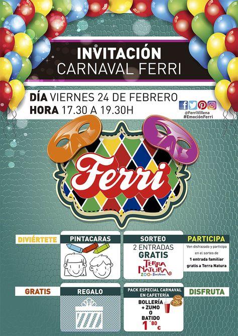 ¡FIESTA DE CARNAVAL INFANTIL! El próximo 24 de febrero en nuestro Centro. #Carnaval2017 #EmociónFerri
