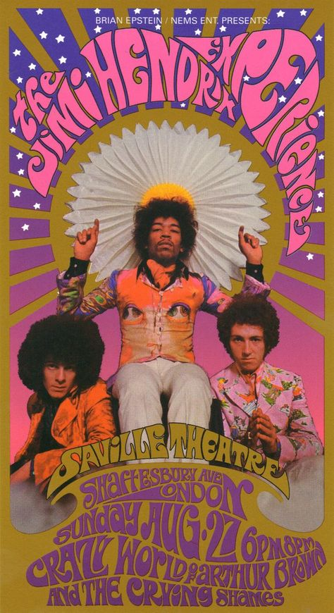Jimi Hendrix Experience London, NEMS Brian Epstein produced show, Psychedelic vintage, rock poster from the Rock Posters, Band Posters, Theatre Posters, Movie Posters, Psychedelic Rock, Psychedelic Posters, Gig Poster, Affiche Jimi Hendrix, Jimi Hendricks