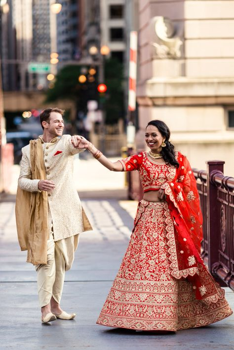 Chicago Indian wedding photo of bride and groom dancing downtown