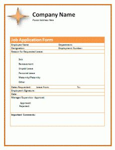 Sample Job Application Form  Certificate Templates