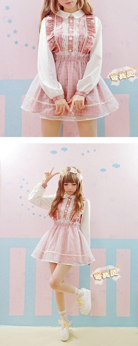 2015 nueva primavera falso de dos piezas de malla y algodón del vestido del remiendo rosado y púrpura a cuadros OP vestido lolita dulce vestido mujeres que envían libremente en Vestidos de Moda y Complementos Mujer en AliExpress.com | Alibaba Group