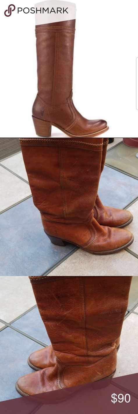 Frye Tall Jane Stitch Boots Good pre loved condition.  Size 7.5. These have been loved and broken in. Some minor peeling by heel. Beautiful patina. Tall pull on boots with a 2