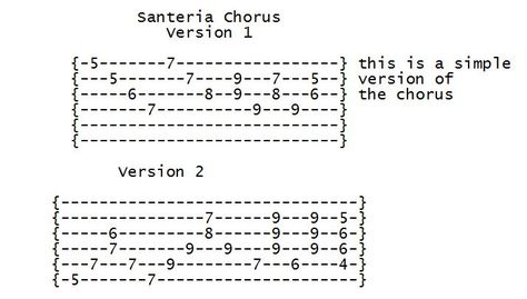 Santeria Chorus From A Guitar Lesson On My Site That Teaches You