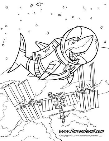 Shark In Space Space Coloring Pages Shark Coloring Pages