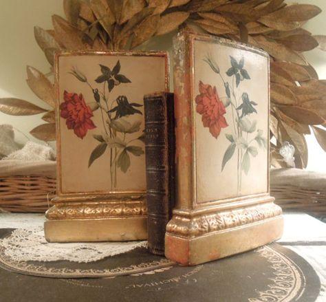 Fabulous Vintage Italian Florentine Bookends / Gold Gilt / Vintage Gilt Borghese Italian Plaster Floral Bookends
