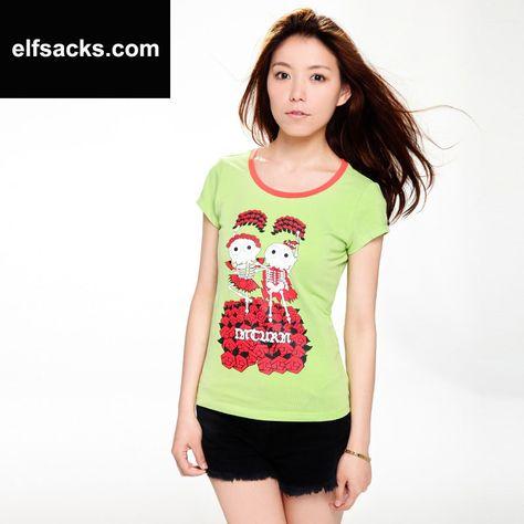Womens Round Collar Short Sleeve Tshirt Green