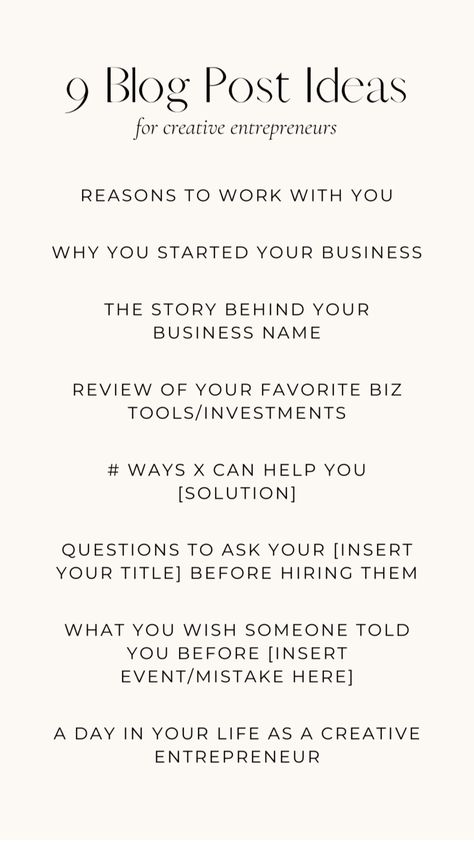 9 Blog Post Ideas for Business Owners | Blogging Prompts