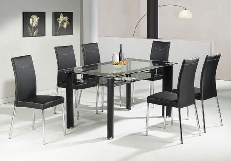Black glass dining table, 2 tier, oval, four chairs | Black glass ...