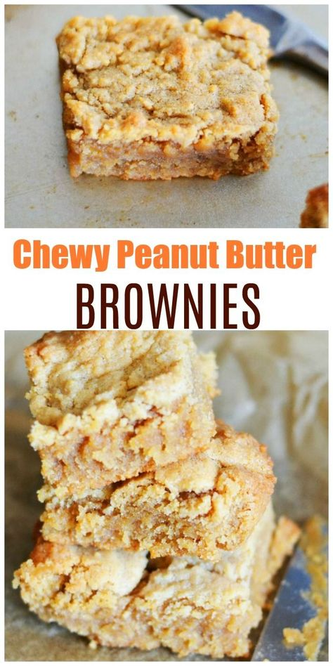 Homemade Pantry Staples Chewy Peanut Butter Brownies Recipe. These chewy, and super moist peanut butter brownies will knock your socks off! Made with crunchy peanut butter, brown sugar, eggs and a few other simple ingredients. #peanutbutter #brownies #desserts  via @savvysavingcoup
