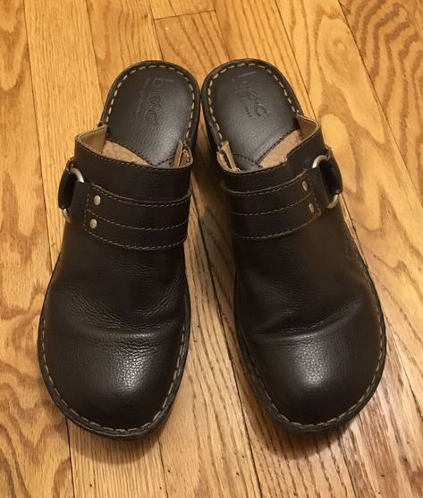16def982af (eBay Advertisement) BOC Born Concept Brown Pebbled Leather Wedge Mules  Clogs Buckle Women's 10