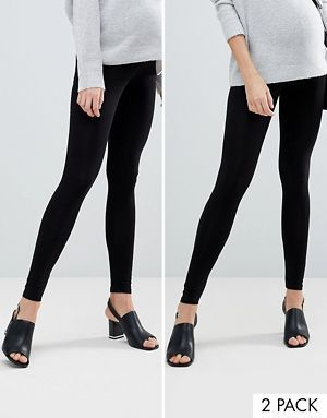 badf120d3536 ASOS DESIGN Maternity 2 pack over the bump high waisted leggings in black