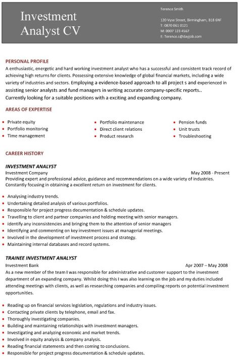 A professional two page investment analyst CV example al my - private equity analyst sample resume