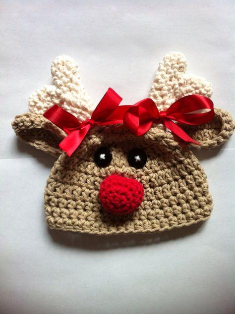 Crochet reindeer hat baby reindeer hat newborn reindeer hat rudolph hat baby rudolph baby christmas hat newborn photo prop christmas prop on Etsy, $21.00