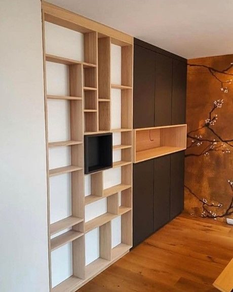 Bibliotheque Design En Chene En 2020 Habitat Bibliotheque En Bois Bibliotheque Design