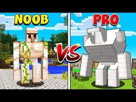 Minecraft Noob Vs Pro Golems In Minecraft Noob Minecraft Minecraft Mods