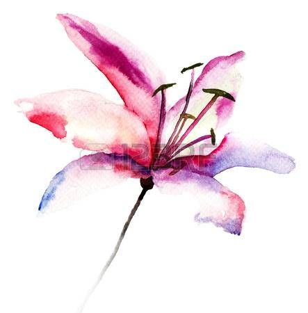 Stock Photo Fleur De Lys Dessin Aquarelle Fleurs Tatouage De Lys