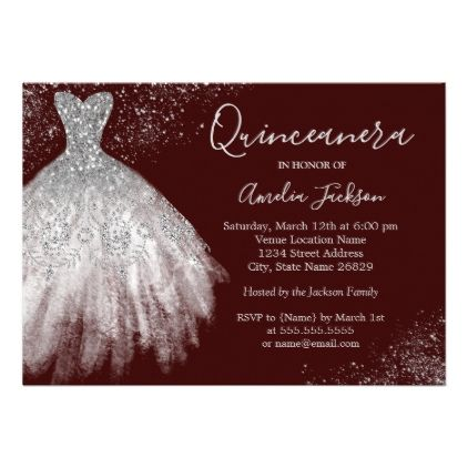 Elegant Gown Burgundy Quinceanera Invitation burgundy style