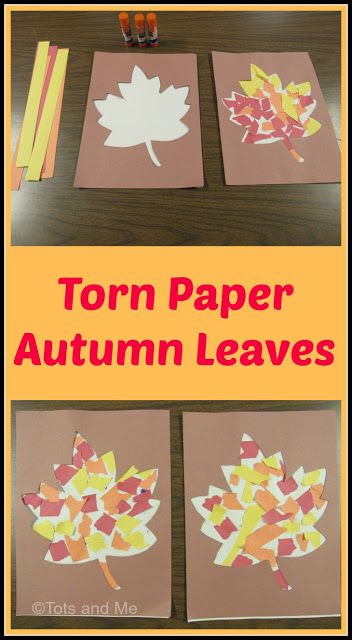Littles Learning Link Up: October Torn Paper Autumn Leaves - Herbst - amazing craft Fall Preschool Activities, Preschool Art, Art Activities, Autumn Activities For Babies, Thanksgiving Craft Kindergarten, October Preschool Crafts, Thanksgiving Preschool Crafts, Preschool Fall Crafts, Cutting Activities