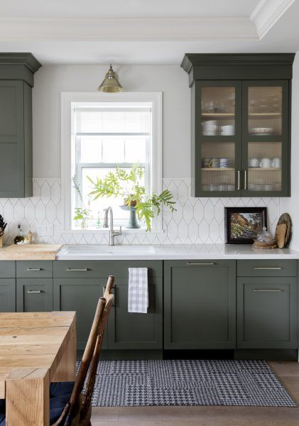 Design Trends Colorful Cabinetry And Tile In 2020 Green Kitchen