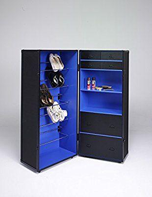 Kofferschrank Schwarz Blau Schuhschrank Schrankkoffer Holz Auf