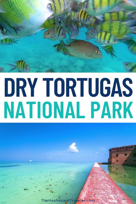 Dry Tortugas is one of the most remote U.S. National Parks, on an island 70 miles from Key West, Florida! Dry Tortugas is a great family vacation with kids or couples trip. Find out how to take a ferry or seaplane for pristine beaches, amazing snorkeling and overnight beach camping! Best Florida Vacation Destinations with Kids | Florida Vacation Spots Pictures | Best Florida Beaches Key West | Florida Keys vacation things to do | Key West Florida things to do | Things to do in Key West Florida