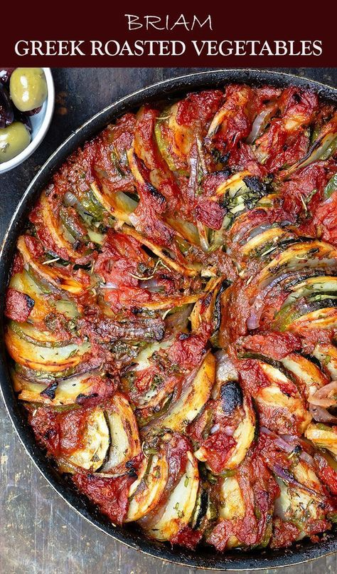 If you havent tried these Greek Roasted Vegetables you are in for a treat DELICIOUS healthy and loads of Greek flavors You probably already have all the ingredients Easy. Veggie Recipes, Vegetarian Recipes, Cooking Recipes, Healthy Recipes, Easy Recipes, Greek Food Recipes, Roasted Vegetable Recipes, Recipes For Vegetables, Healthy Eggplant Recipes