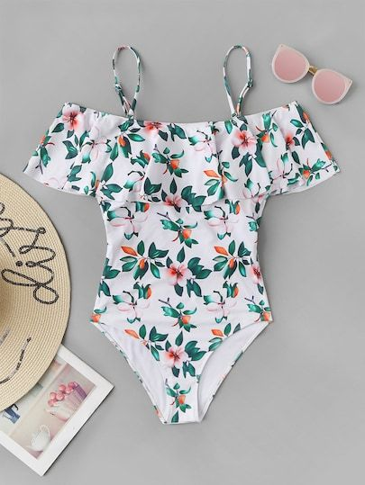 9acb92198ae Random Flower & Leaf Print Flounce One Piece Swimwear in 2019 | Swim ...