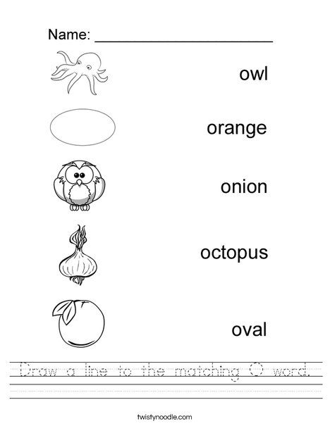 Draw A Line To The Matching O Word Worksheet Twisty Noodle Phonics Worksheets Printable Alphabet Worksheets Letter Recognition Worksheets Free printable letter o worksheets for