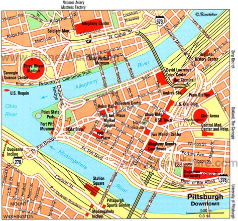Map Of Downtown Pittsburgh Pinterest