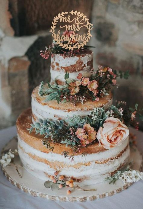 We're Falling for these 12 Fall-Inspired Wedding Cakes - Love Inc. Mag - We're Falling for these 12 Fall-Inspired Wedding Cakes – Love Inc. Mag semi-naked-wedding-cake-with-fresh-flowers Rustic Wedding Cake Toppers, Wedding Cake Designs, Wedding Rustic, Wedding Cake Vintage, Vintage Cakes, Vintage Weddings, Rustic Birthday Cake, Disney Wedding Cake Toppers, Rustic Groom