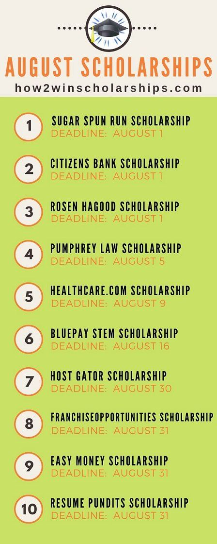 August Scholarships for College