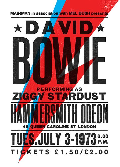 David Bowie concert poster David Bowie art print par TheIndoorType