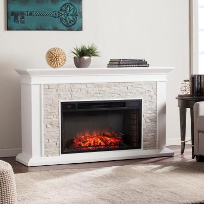 Real Flame Kipling 54 In Freestanding Electric Fireplace In White