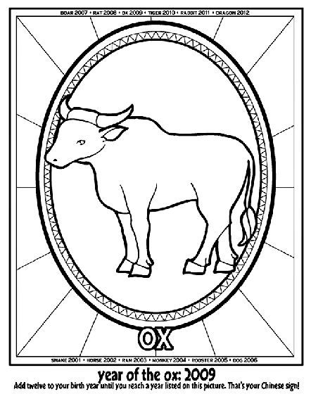 Chinese New Year Year Of The Ox Coloring Page Hi Star