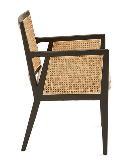 Louis Dining Arm Chair In Black White Stripe Fabric Use Premier