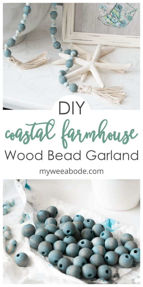 How to Make a Coastal Farmhouse Wood Bead Garland - my wee abode- Make this wooden bead garland with tassels for a coastal farmhouse style home! Easy and affordable diy project that brings a little ombre look to your interior. Wood Bead Garland, Beaded Garland, Shabby Chic Pink, Bead Crafts, Diy And Crafts, Fall Crafts, Pumpkin Crafts, Coastal Farmhouse, Farmhouse Style
