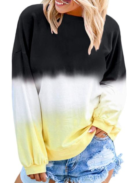 Womens Casual Sweatshirt O-Neck Gradient Contrast Color Long Sleeve Hoodie Pullover Top