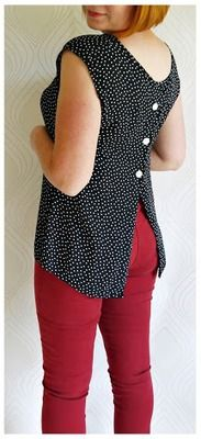 Dream a Little Bigger —Polka blouse refashion >>>>> why I love those back buttons? could do something like on the site, or cut the back of any shirt...