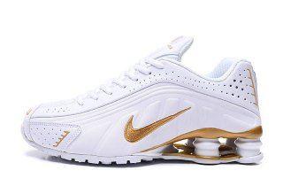 Nike Shox R4 White Gold Mens Running
