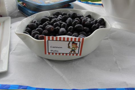 Jake and the Neverland Birthday Party food idea cannon balls -black grapes-at publix's